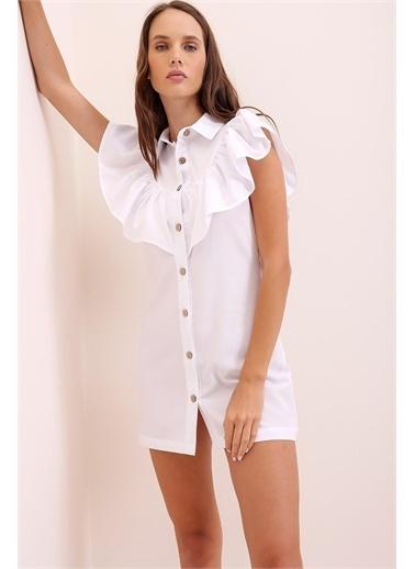 Pink Park Fırfırlı Poplin Gömlek Elbise URT0015 Beyaz